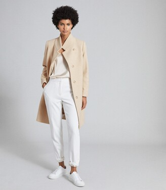 Reiss Marcie - Wool Blend Mid Length Coat in Stone