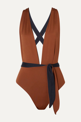 Skin The Domino Reversible Swimsuit - Brown