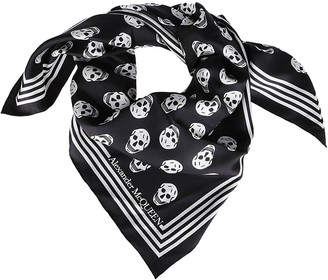 Alexander McQueen Black And White Silk Skull Scarf