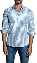 Jared Lang Stripe Woven Trim Fit Shirt