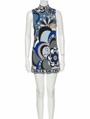 Emilio Pucci Printed Mini Dress Blue