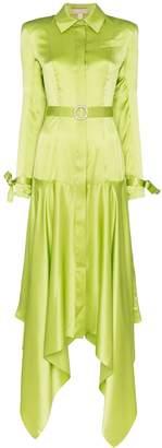 MATÉRIEL asymmetric silk shirt dress