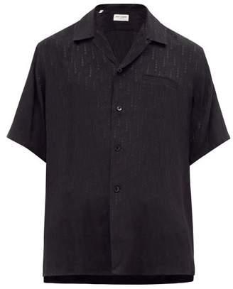 Saint Laurent Star-jacquard Silk-chiffon Shirt - Mens - Black