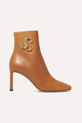 Jimmy Choo Minori 85 Embellished Leather Ankle Boots - Tan