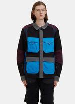 7l Men's Field Layer Contrast Cargo Pocket Jacket In Black, Grey, Blue And Purple