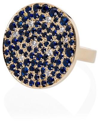Dru 14kt Yellow Gold Diamond And Sapphire Galaxy Ring