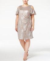 MSK Plus Size Cold-Shoulder Faux-Wrap Dress