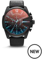 Diesel Mens Watch Black IP Stainless Steel Case, Black Leather Strap With Iridescent Crystal Dial