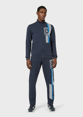 Ea7 Jersey-Fleece Tracksuit With Contrasting Stripes