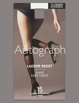 Marks and Spencer 3 Pair Pack 15 Denier Ladder Resist Shine Knee Highs with Silver Technology