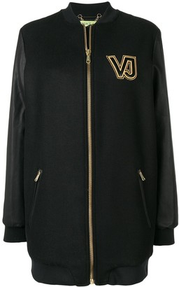 Versace Jeans Couture Contrast Logo Zipped Coat