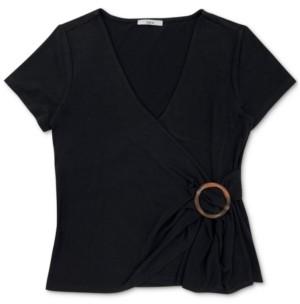 Bar III O-Ring Surplice-Neck Top, Created For Macy's