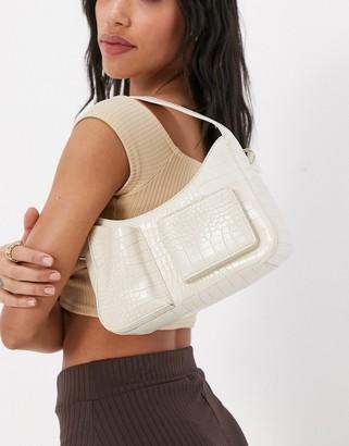 Ego shoulder bag with front pocket detail in white croc