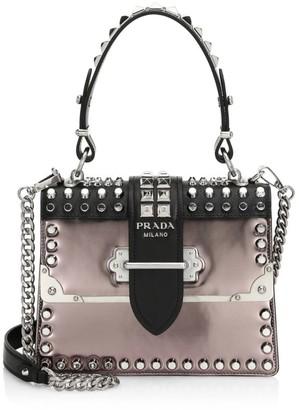 Prada Cahier Studded Leather Top Handle Bag