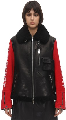 Burberry Bicolor Leather Biker Jacket