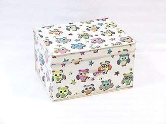 OWL Foldable Pop up Room Tidy Storage Chest Toy Box for Girls and Boys, Fabric, Multi-Colour, 50 x 30 x 40 cm