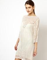 Asos Sunray Embellished T-shirt Dress - Cream