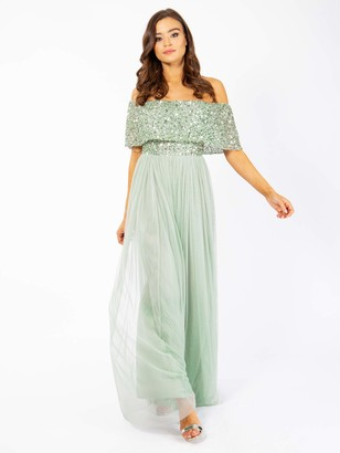 Maya Deluxe Women's Maya Green Lily Bardot Embellished Maxi Dress Bridesmaid 6