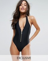 South Beach Plunge Zip Black Swimsuit