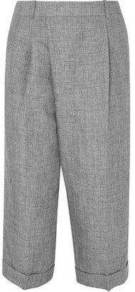 Michael Kors Cropped Linen Wide-leg Pants