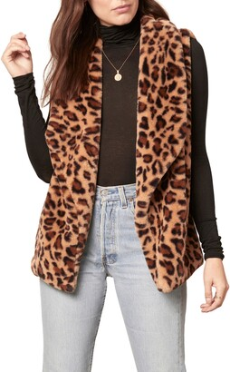 BB Dakota Purr Crazy Leopard Print Faux Fur Vest