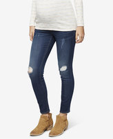 A Pea in the Pod Maternity Dark-Wash Distressed Skinny Jeans