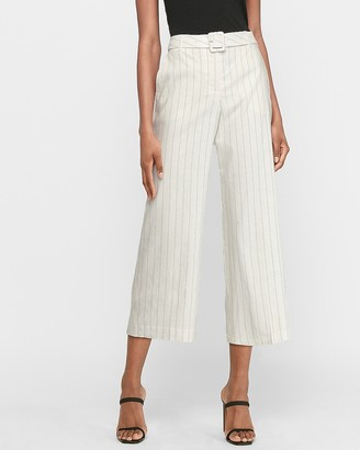 Express Super High Waisted Pinstripe Belted Cropped Wide Leg Pant