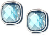 Anne Klein Silver-Tone and Blue Button Clip On Earrings