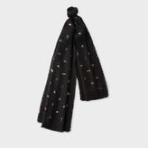 Paul Smith Men's Black 'Cufflink Charm' Print Silk Scarf