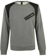 Replay Leather Tip Crew Mens Sweater