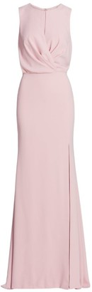 BURNETT NEW YORK Draped Bodice Crepe Gown