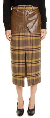 REJINA PYO Maggie Faux Leather Trim Check Midi Skirt