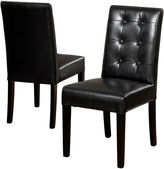Asstd National Brand Whitley Set of 2 Tufted Bonded Leather Parsons Dining Chairs