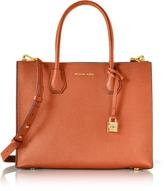 Michael Kors Mercer Large Orange Pebble Leather Convertible Tote Bag