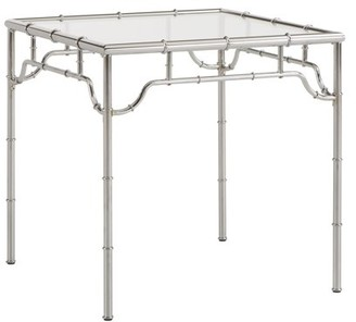 Weston Home Arata Metal Bamboo End Table With Glass Top, Chrome