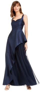 Adrianna Papell Mikado Asymmetrical-Pleated Gown