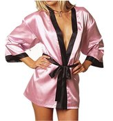 Merssavo Women's Sexy Sleepwear Satin Nightwear Dress Kimono Bath Robe Bridal Lingerie Mother's Day gift