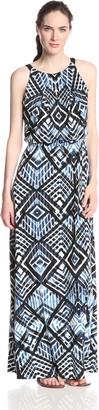 Andrew Marc Women's Halter Neck Blouson Stripe Maxi Dress
