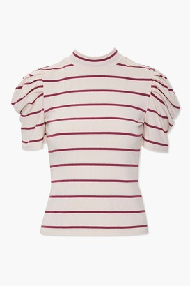Forever 21 Striped Puff Sleeve Top