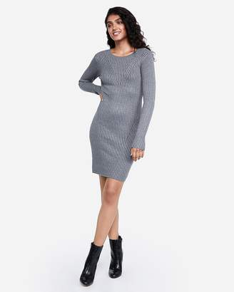 Express Long Sleeve Ribbed Fitted Sweater Dress
