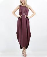 Lydiane Women's Maxi Dresses EGGPLANT - Eggplant Sleeveless Side-Slit Curved-Hem Pocket Dress - Plus