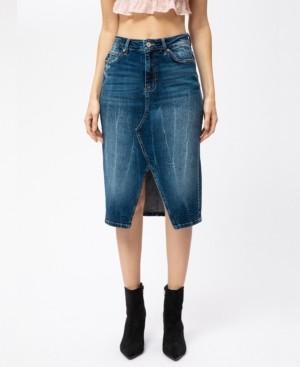 Kancan High Rise Front Slit Midi Skirt