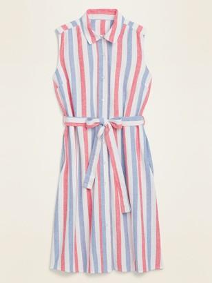 Old Navy Striped Linen-Blend Tie-Belt Shirt Dress for Women