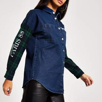 River Island Womens Green check denim boyfriend jacket