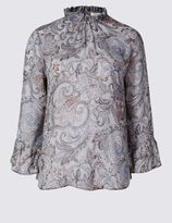 Marks and Spencer High Neck Paisley Print Blouse