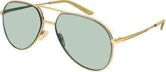 Gucci Engraved Metal Aviator Sunglasses