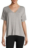 Beyond Yoga Roll the Slice Split-Back Athletic Tee, Gray