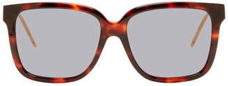 Gucci Tortoiseshell GG Stripe Square Sunglasses