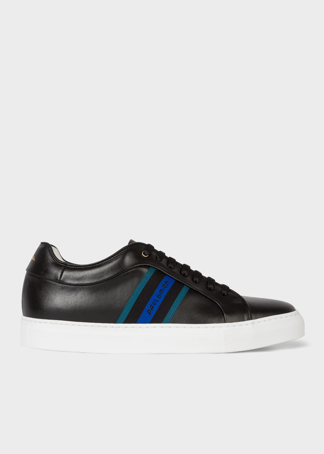 Paul Smith Men's Black Leather 'Basso' Sneakers With 'Paul Smith' Webbing Panel