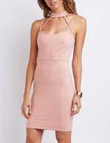 Charlotte Russe Strappy Caged Mock Neck Bodycon Dress